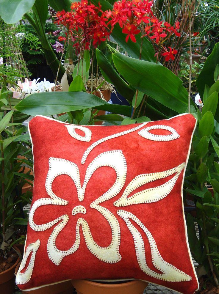 Opposites Attract Flower Wool Applique Throw Pillow