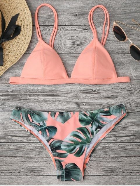 Cami Palm Leaf Print Bikini - ORANGEPINK S