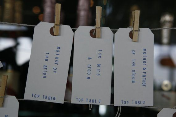 Personalised rustic wedding table plan luggage tags on Etsy, £1.00 per card use one card per couple to save