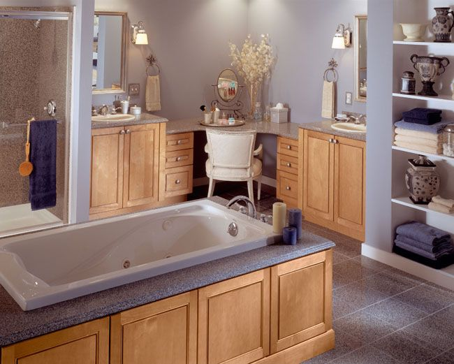 Photos Of The star of this contemporary master bath is a custom dressing table and double vanities featuring