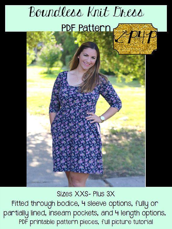 Boundless Knit Dress Sewing PDF Pattern by by PatternsforPirates