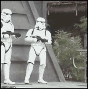 Dancing Stormtrooper.... totally reminds me of my bestie!