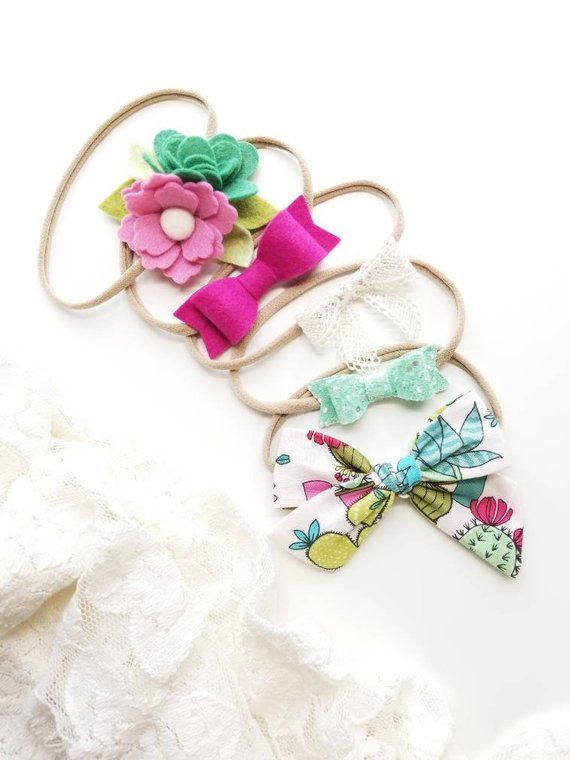 Baby headbands, The Perfect Succulent Set, baby bows. Nylon headbands, succulent, Vanaguelite