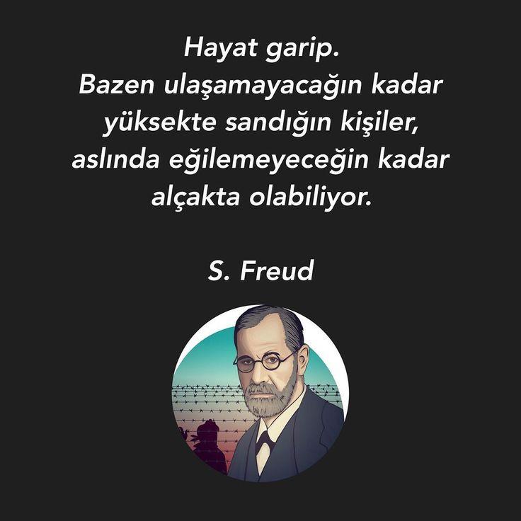 Hayat garip. Bazen ulaşamayacağın kadar yüksekte sandığın kişiler, aslında eğilemeyeceğin kadar alçakta olabiliyor. - Sigmund Freud (Kaynak: Instagram - birazedebiyat) #sözler #anlamlısözler #güzelsözler #manalısözler #özlüsözler #alıntı #alıntılar #alıntıdır #alıntısözler #şiir #edebiyat