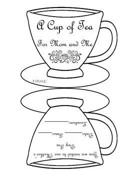 Use this cute tea cup invitation to invite parents to Mother's Day Tea!  Have students color the tea cup, then cut out and fold the two sides of the tea cup together.