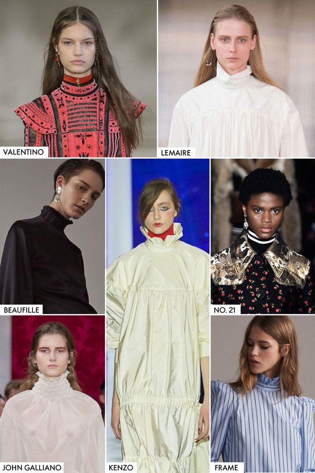 ヴィクトリアン・アティチュード    今年の秋も、ヴィクトリア朝にインスパイアされた襟が継続人気。「ジョン・ガリアーノ」や「ケンゾー」はシェイクスピア風のホワイトカラーを使用し、「フレーム」や「ルメール」は、張りのあるポプリンを採用して現代風にアレンジ。