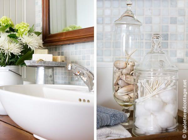 Vessel Sink | Apothecary Jars | Cottage Bathroom | The Lettered Cottage