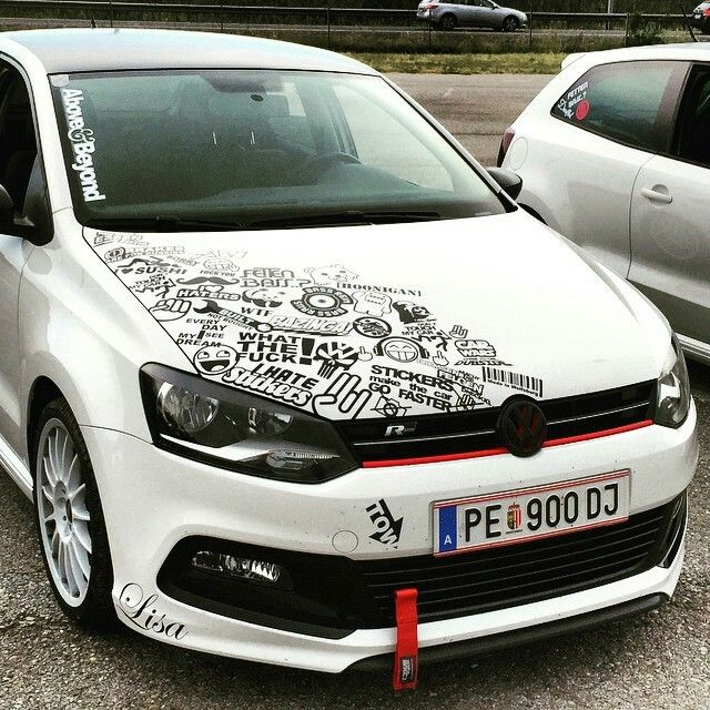 Volkswagen golf r partial sticker bomb black and white