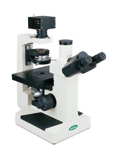VanGuard 1293CMI Brightfield, Phase Contrast Inverted Microscope with Trinocular Head, Halogen Illumination, 10X, 25X, 40X Magnification  Inverted microscope for observation of biological cultures or specimens within well plates, petri dishes, or vials in areas that require a longer working distance; frequently used in university research and in medical and industrial laboratoriesTrinocular viewing configuration with two eyepieces to ease eye strain and provide a more comprehensive ..