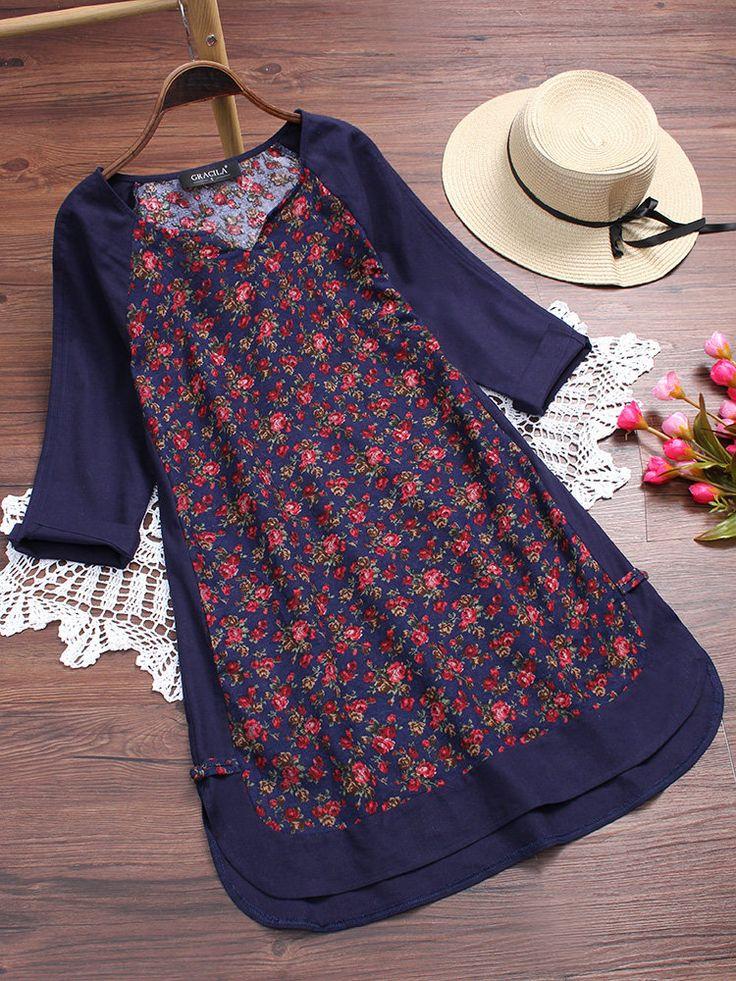 Floral Printed Vintage 3/4 Ärmel V-Ausschnitt Kleider für Frauen - NewChic