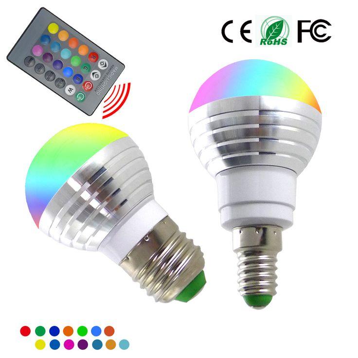 Nueva E14 E27 RGB LLEVÓ el Bulbo 5 W 16 Cambio de Color de la Lámpara LED Spotlight + IR de Control Remoto AC85-265V de Navidad Luces de la decoración