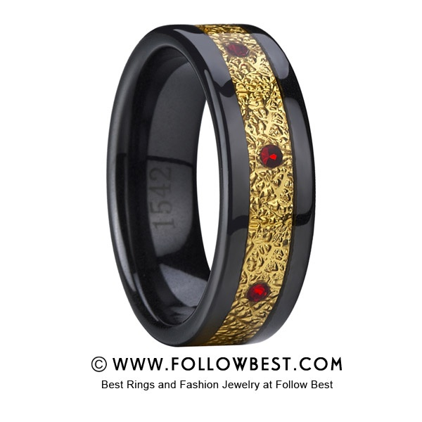 A new Men's Ceramic Wedding Bands Rings - Black Ceramic Wedding Ring With Carbon Fiber and Green Stone