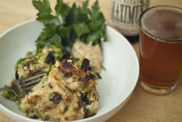 Savory bread pudding with mushrooms, leeks, brussels sprouts, and ...