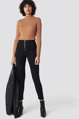 0c2c820ab394 Zipper Detailed High Waist Skinny Jeans NA-KD.COM