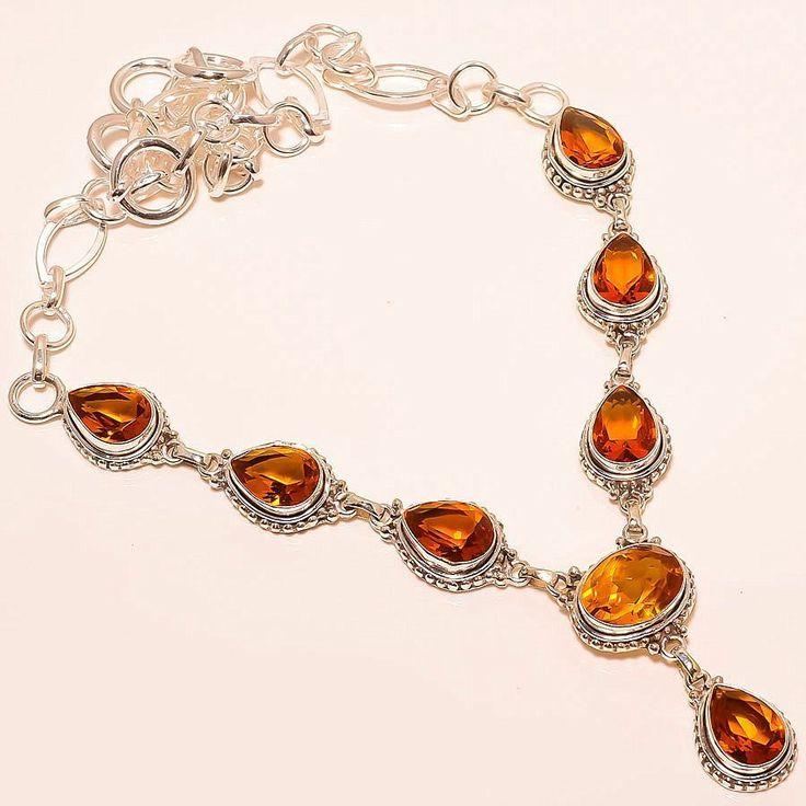 Honey Topaz Vintage Style 925 Sterling Silver Jewelry Necklace 18