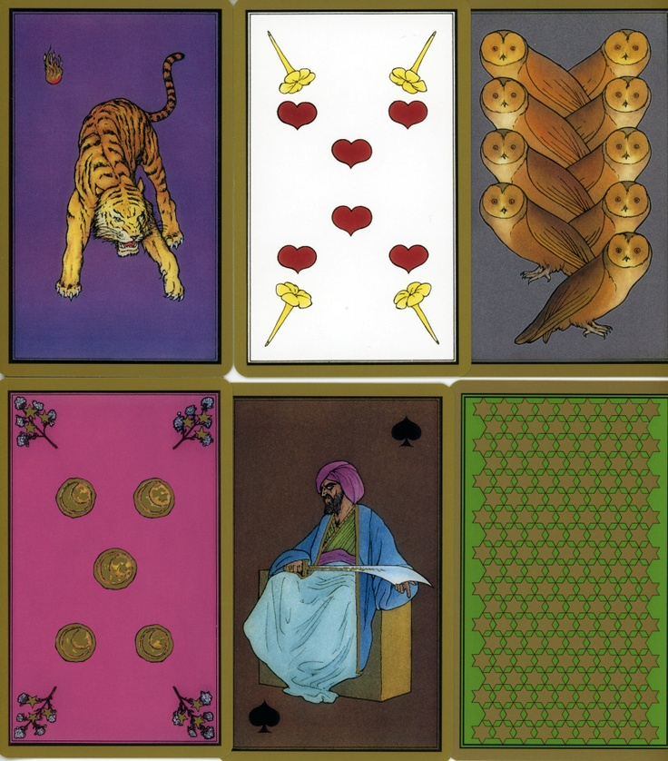 Persian Tarot by Madame Indira - This deck isn't really a tarot, but a 55-card oracle deck. I really liked the intense, richly saturated color.