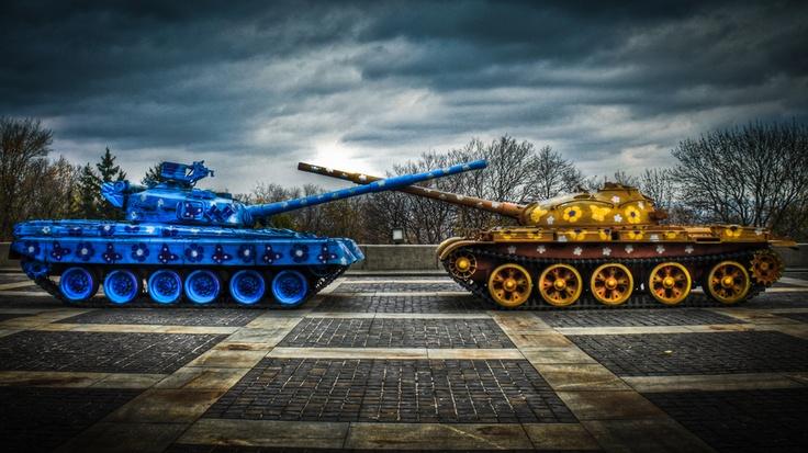 Flower power tank fight in Kiev, Ukraine. Buy posters/prints at http://www.redbubble.com/people/pixog/works/9998128