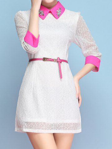 Vintage Flat Collar 3/4 Sleeves Color Splicing Rhinestone Lace Dress For Women
