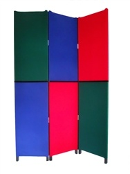 Introducing the first Made in America RGB(red, green, blue) 3 panel room divider folding screen. Designed and constructed by Vim Venture.