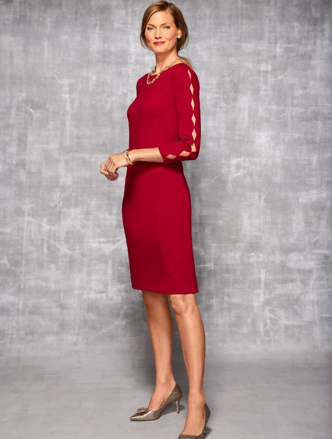 a5d25775abf This classic red sheath dress is crafted from our flattering-for-all ponte  fabrication. Diamond-shaped cut-outs along the arms add a striking