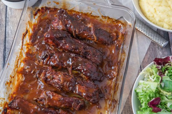 This recipe comes originally from the  Meat lovers Cookbook  - It is easy to put together and wait til you taste them.they are awesome - I served them with noodles and a green salad I sometimes add 3 cloves of garlic with the BBQ Sauce - Play with it to suit your taste.