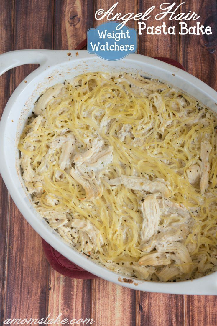 Weight Watchers Chicken Angel Hair Pasta Bake Recipe - So easy! 4 WW points by #amomstake