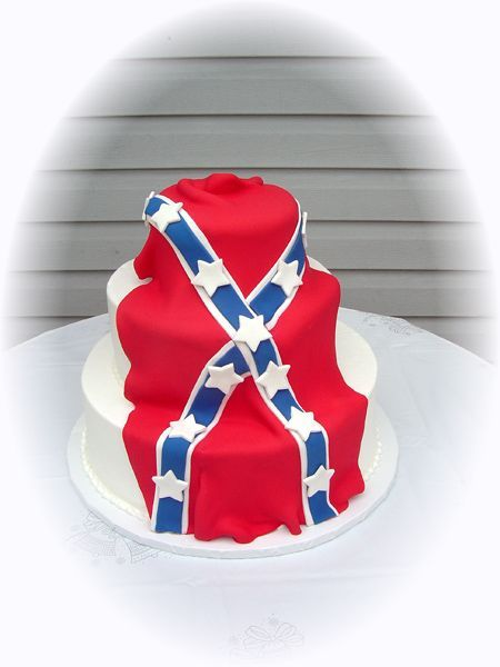 Rebel Flag And Traditional Wedding Cakes