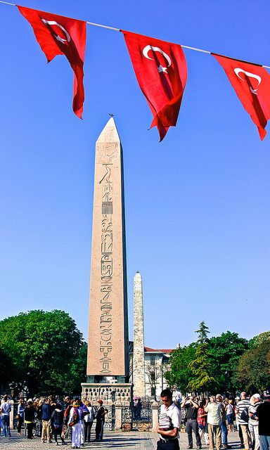 The Obelisk of Theodosius I - Istanbul, Turkey.  The oldest monument in Istanbul (Constantinople) is the obelisk in the Hippodrome, which was erected by emperor Theodosius I in 390 AD, but is actually much, much older. It was originally made for Tutmoses III, who ruled Egypt from 1479 to 1425 BC. The pink granite stone was almost 2,000 years old when it was moved from the Temple of Karnak, Luxor, Egypt to the center of the Hippodrome, between Hagia Sophia and the Blue Mosque.  by Pat L.314