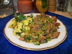 16. hét /  április 19. vasárnap: zöldborsós csirkemájragu, petrezselymes burgonya / rizs