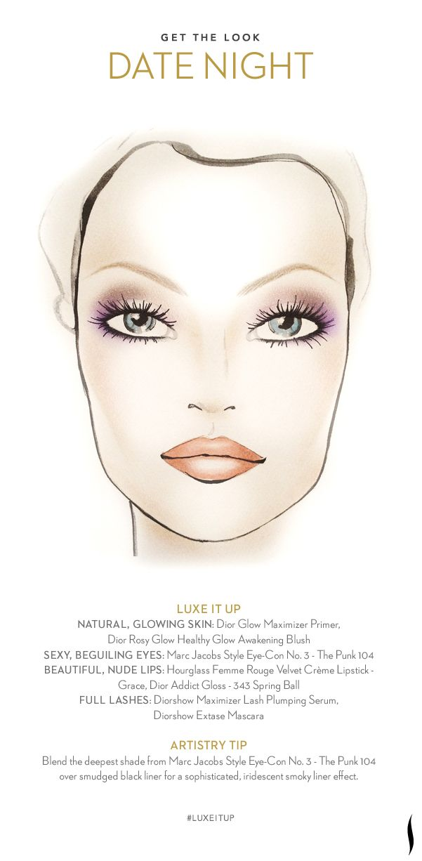 Get the Look: Date Night. How do you #LuxeItUp? #Sephora #Givenchy #Hourglass #Dior #MarcJacobs #beauty #makeuptutoria