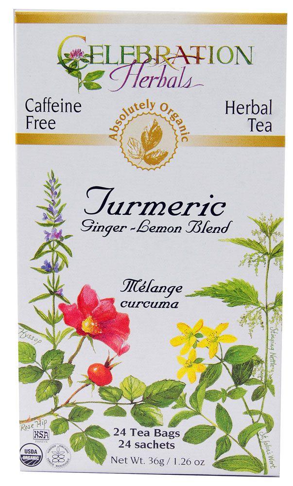 Celebration Herbals Organic Turmeric Tea Ginger-Lemon Blend -- 24 Tea Bags - Vitacost