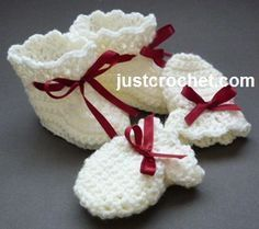 Free baby crochet pattern for booties & mitts http://www.justcrochet.com/booties-mitts-usa.html #justcrochet