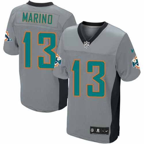 mens nike miami dolphins 13 dan marino elite grey shadow jersey 129.99