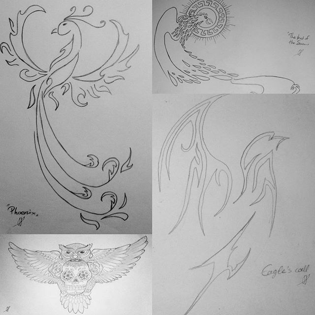 Doodles I found in an old sketching book & I decided to post them. Mostly tattoos I've seen online.     #phoenix #bird #eagle #falcon #owl #aztecbird #tattoo #sketch #practice #doodle #pencil