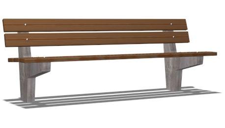 Bellevue bench with backrest - NAT202 - Playground accessories and park furniture - Playground Equipment - KOMPAN