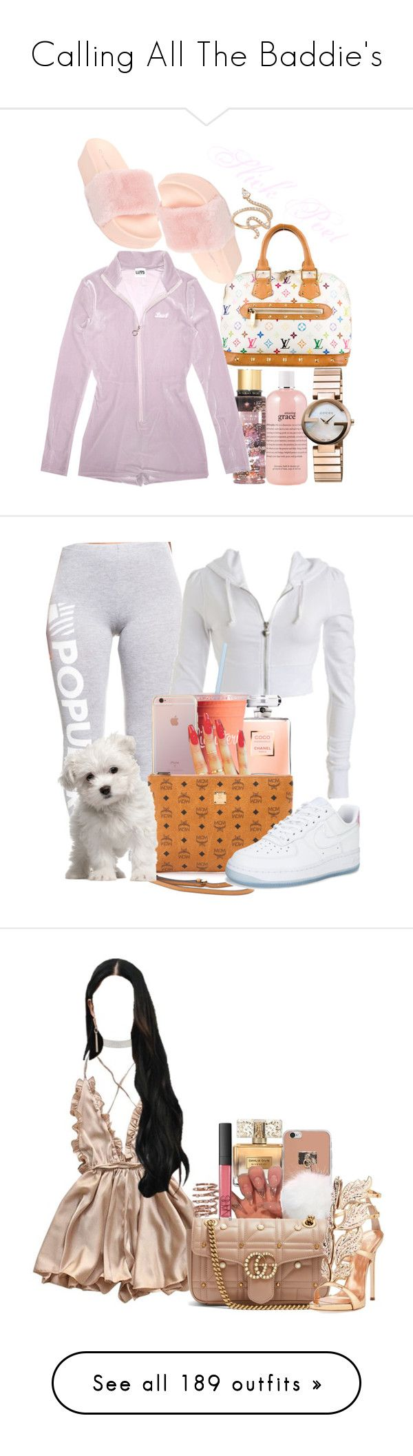 """""""Calling All The Baddie's"""" by melaninprincess-16 ❤ liked on Polyvore featuring Victoria's Secret, philosophy, Louis Vuitton, C Label, Gucci, Nigaam, Wet Seal, Chanel, MCM and NIKE"""