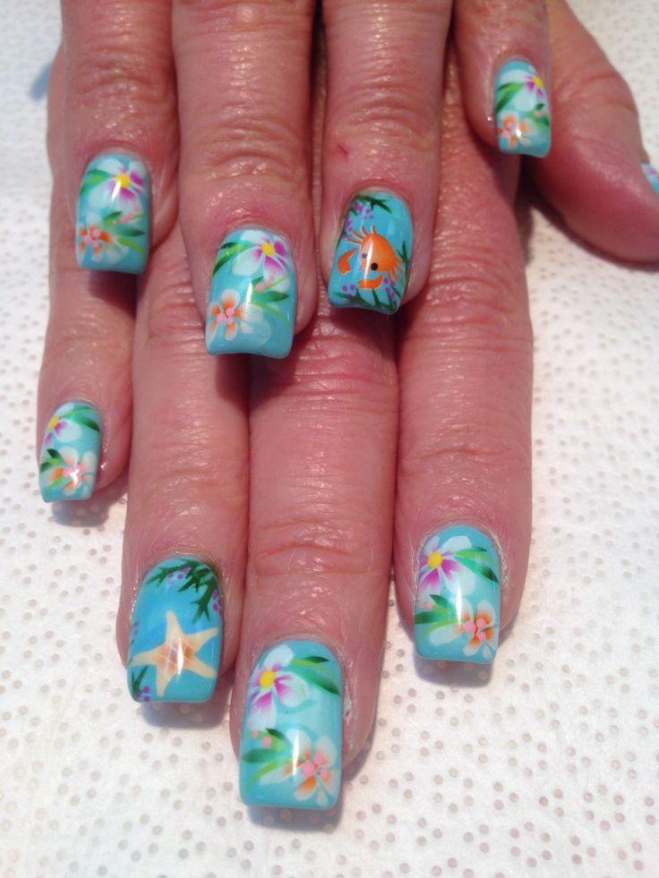 Airbrush nail art. Summer tropical nails