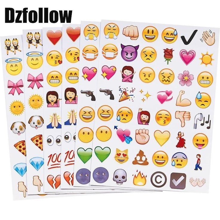one sheet(48stickers) 6styles Cute Lovely Die Cut Emoji Smile emoticons stickers For Notebook Message High Vinyl Funny Creative