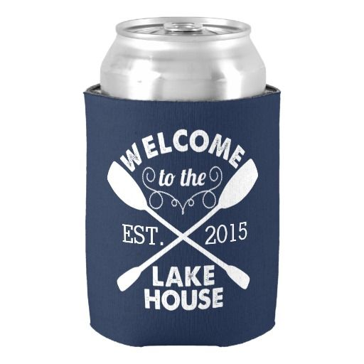 Welcome to the Lake House | Navy & White Can Cooler  #koozies