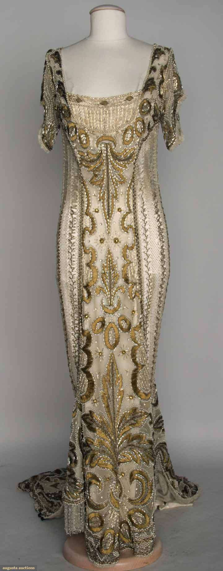 Gold Beaded Ball Gown, C. 1908, Augusta Auctions, November 13, 2013 – NYC, Lot 307