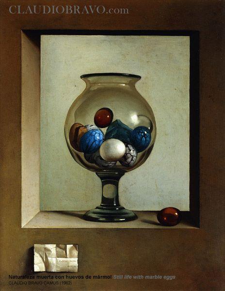 Naturaleza muerta con huevos de mármol / Still life with marble eggs [1962] Óleo sobre lienzo / Oil on canvas 92,4 x 73 cm / 36 3/8 x 28 3/4 in. ClaudioBravo.com #ClaudioBravoCamus