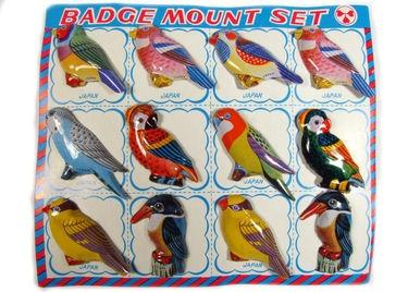 Sammlung Mit 12 Alte Blech Vögel Anstecknadeln