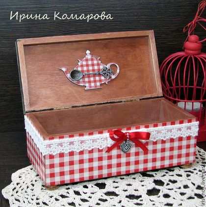 "Box for tea 30$ ""Бабушкино варенье"", шкатулка - красно-белый,клетка,Декупаж,кантри,кухня"