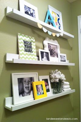 i like this idea for either bedroom or his playroom..........cute bathroom decor ledge for a kids bathroom- Great use of the ikea shelves we already have