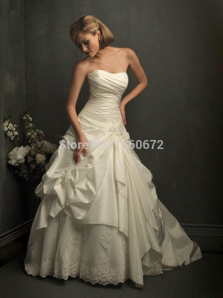 2014 элегантный изысканный удивительные русалка старинные свадебные платья без бретелек украшенные драпированные свадебные платья Vestidos