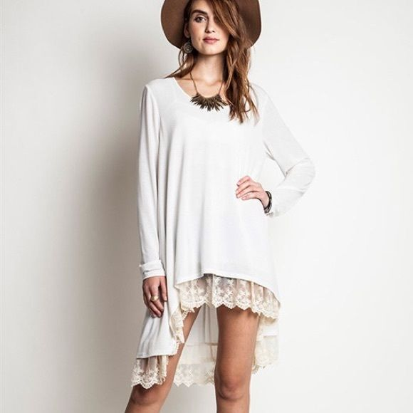 """""""Fern Hill"""" Lace Hem Asymmetric Tunic Top Asymmetric hem tunic top with a lace hem. Long sleeves. So very chic. Only available in ivory. Brand new. True to size but a loose fit. Model is wearing the size S. NO TRADES. Bare Anthology Tops Tunics"""