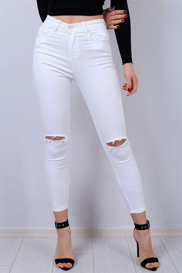 39 95 Tl Beyaz Diz Yirtik Likrali Kot Pantolon 13450b Modamizbir Pantolon Outfit Jeans Tarz Moda