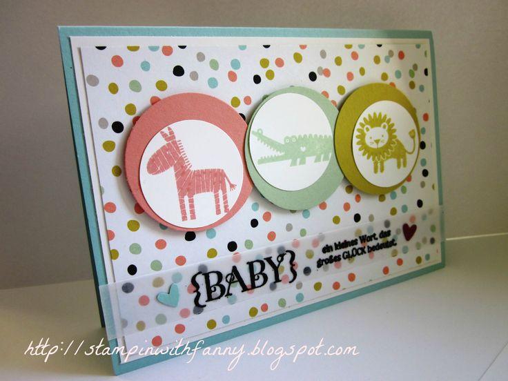 stampin up - süße sorbets - zoo babies - einzigartig - eulenstanze - sab 2014 karte geburt
