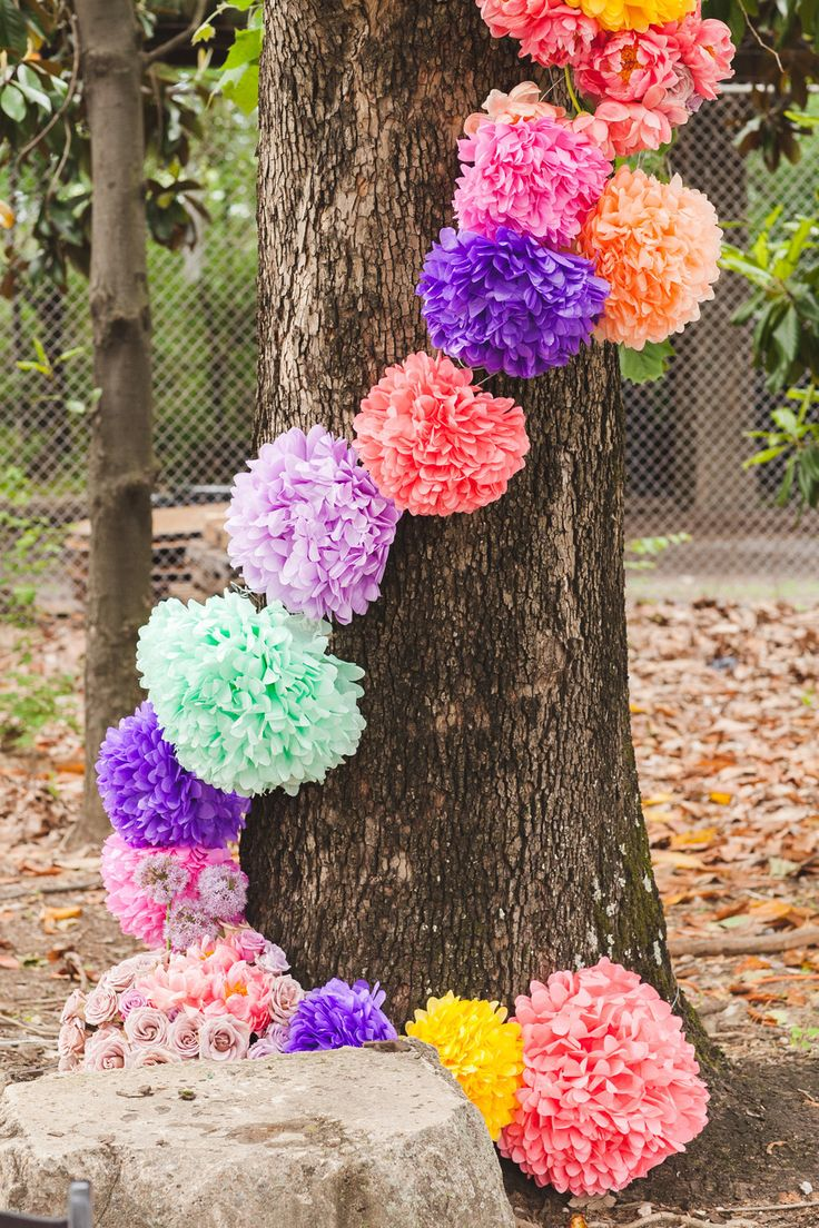Poms | Colorful Wedding Decor | See the wedding on #SMP Weddings ~ http://www.stylemepretty.com/2013/08/27/birmingham-wedding-from-white-rabbit-studios/  White Rabbit Studios