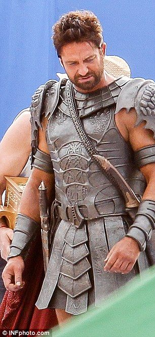 Gerard Butler in full costume as Set in Gods Of Egypt, filming in Sydney Australia Tuesday, May 27, 2014